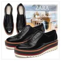 ZARA Platform Casual Style Studded Loafer Pumps & Mules