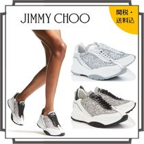 Jimmy Choo Round Toe Rubber Sole Lace-up Casual Style Street Style