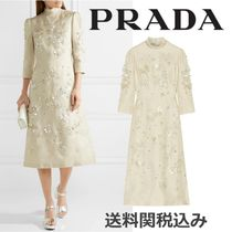 PRADA Silk Blended Fabrics Cropped Plain Long High-Neck