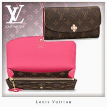 Louis Vuitton PORTEFEUILLE EMILIE Blended Fabrics Studded Bi-color Leather Long Wallets