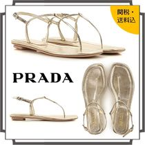 PRADA Open Toe Casual Style Blended Fabrics Plain Leather