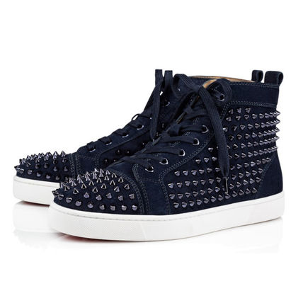 premium selection b95ea 2b414 Christian Louboutin LOUIS Suede Studded Plain Sneakers (3101212V088)