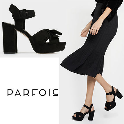 Open Toe Plain Block Heels Party Style Heeled Sandals