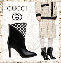 GUCCI Plain Leather Pin Heels Elegant Style High Heel Boots