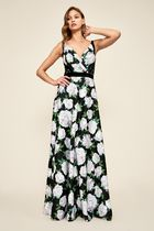 TADASHI SHOJI Flower Patterns Sleeveless V-Neck Long Party Style Dresses