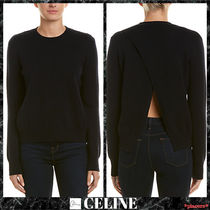 CELINE Crew Neck Casual Style Cashmere Long Sleeves Plain Medium