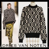 Dries Van Noten Crew Neck Casual Style Cashmere Rib Bi-color Long Sleeves