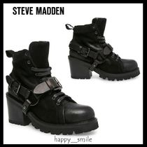 Steve Madden Plain Toe Lace-up Casual Style Leather Chunky Heels
