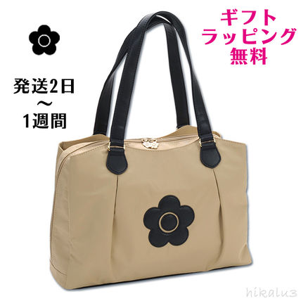 Flower Patterns Casual Style Nylon A4 Plain Totes