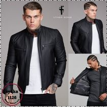 Father & Sons Street Style Plain Leather Biker Jackets