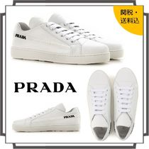 PRADA Round Toe Rubber Sole Lace-up Casual Style Blended Fabrics
