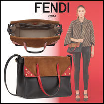 FENDI Monogram Calfskin Studded 3WAY Plain Elegant Style Totes