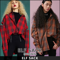 ELF SACK Other Check Patterns Casual Style Long Sleeves Medium