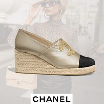 CHANEL Round Toe Casual Style Plain Leather Wedge Pumps & Mules