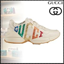 GUCCI Rubber Sole Casual Style Leather Low-Top Sneakers