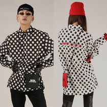 BASIC COTTON Dots Casual Style Unisex Street Style Long Sleeves Cotton