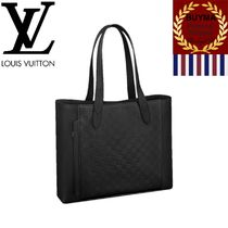 Louis Vuitton DAMIER INFINI Other Check Patterns Unisex A4 Plain Leather Totes