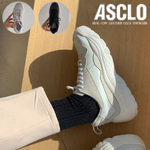 ASCLO Street Style Plain Leather Handmade Oversized Sneakers