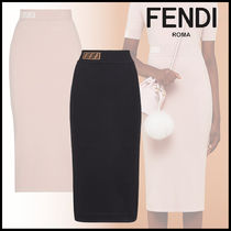 FENDI Pencil Skirts Monogram Long Elegant Style Maxi Skirts