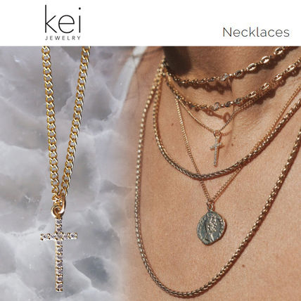 Casual Style Cross Chain 14K Gold Necklaces & Pendants