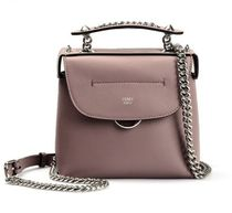 FENDI BACK TO SCHOOL Chain Plain Leather Elegant Style Backpacks