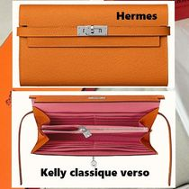 HERMES Kelly Calfskin Handmade Long Wallets