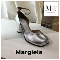 Maison Martin Margiela Plain Leather Block Heels Heeled Sandals