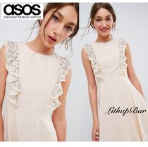 ASOS Crew Neck Short Flared Plain Party Style With Jewels Dresses