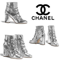 CHANEL Blended Fabrics Plain Block Heels Ankle & Booties Boots