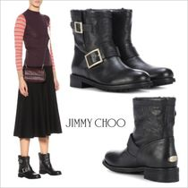 Jimmy Choo Round Toe Plain Leather Ankle & Booties Boots