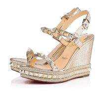 ee0bc49f2f36 Christian Louboutin Pyraclou Open Toe Casual Style Studded Plain Leather  With Jewels