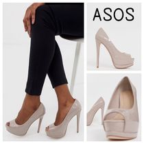 ASOS Open Toe Platform Faux Fur Plain Platform Pumps & Mules