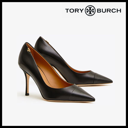 9c00aef9186a0 ... Tory Burch Pointed Toe Blended Fabrics Plain Leather Pin Heels ...