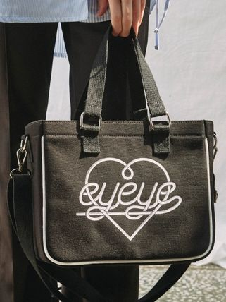 Heart Casual Style Canvas Street Style Plain Totes