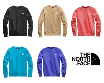 THE NORTH FACE Sweatshirts Crew Neck Pullovers Long Sleeves Plain Cotton Khaki