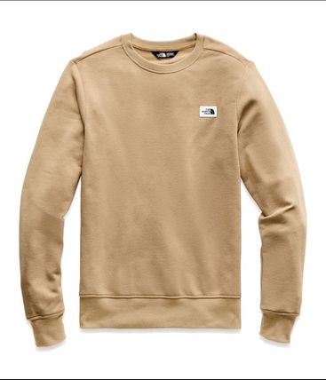 THE NORTH FACE Sweatshirts Crew Neck Pullovers Long Sleeves Plain Cotton Khaki 3