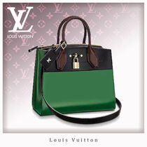 Louis Vuitton CITY STEAMER Calfskin 2WAY Bi-color Elegant Style Handbags