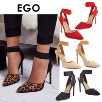EGO Leopard Patterns Suede Plain Pin Heels Party Style
