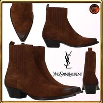 Saint Laurent Casual Style Suede Plain Block Heels Ankle & Booties Boots