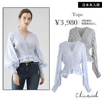 Chicwish Stripes Long Sleeves Shirts & Blouses