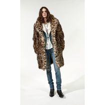 Saint Laurent Leopard Patterns Fur Long Chester Coats