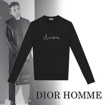 DIOR HOMME Crew Neck Pullovers Street Style Bi-color Long Sleeves 5ecd527886c