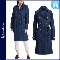 Ralph Lauren Denim Plain Long Elegant Style Trench Coats