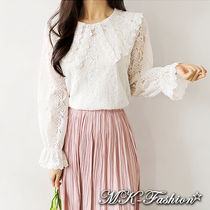 Flower Patterns Lace-up Casual Style Nylon Long Sleeves
