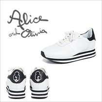 Alice+Olivia Stripes Round Toe Rubber Sole Lace-up Casual Style Leather