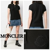 MONCLER Casual Style Plain Cotton Short Sleeves Polo Shirts