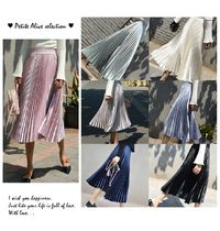 Casual Style Pleated Skirts Street Style Plain Long Midi