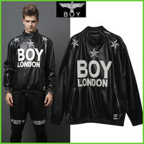 BOY LONDON Star Unisex Faux Fur Street Style Biker Jackets