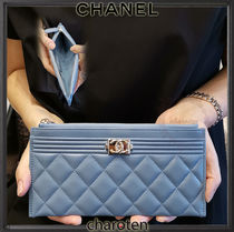 CHANEL ICON Calfskin Plain Pouches & Cosmetic Bags