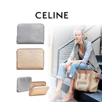CELINE Zipped Calfskin Plain Coin Purses